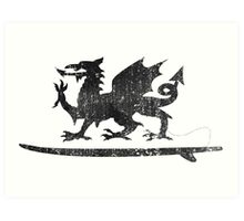 Welsh Dragon Cold Water Surfing on Surfboard Art Print