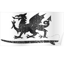 Welsh Dragon Cold Water Surfing on Surfboard Poster