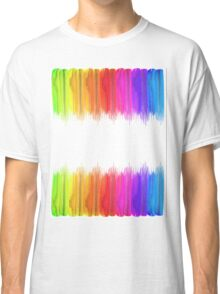Striped hand drawn watercolor background. Bright colors. Watercolor composition for print. Classic T-Shirt