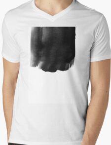 Grunge black watercolor background. Mens V-Neck T-Shirt