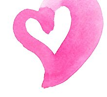 Watercolour heart isolated on white background by LourdelKaLou