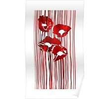 Poppies red flowers abstract.  Poster