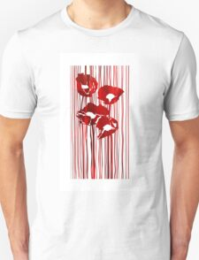 Poppies red flowers abstract.  Unisex T-Shirt