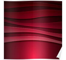 Red abstract background with curved lines Poster