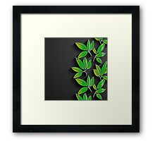 Black background with green abstract leaves Framed Print