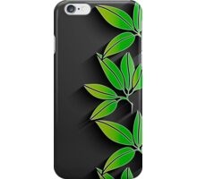 Black background with green abstract leaves iPhone Case/Skin