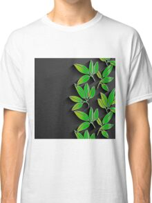 Black background with green abstract leaves Classic T-Shirt