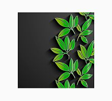 Black background with green abstract leaves Unisex T-Shirt