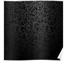 Black  floral wallpaper pattern. Poster