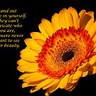 Inspirational Yellow Gerbera Daisy  by daphsam