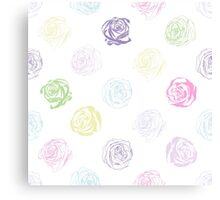 Black and white pattern in roses with contours.  Canvas Print
