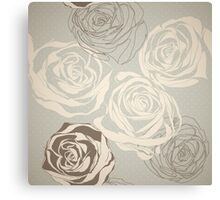 Vintage floral  pattern with hand drawn roses Canvas Print