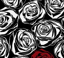 Seamless pattern with black roses flowers.  by LourdelKaLou