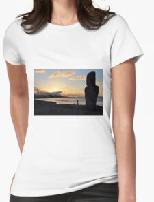 Moai in the Sunset - Rapa Nui - Easter Island Womens Fitted T-Shirt