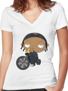 A$AP Rocky vs. Stewie  Women's Fitted V-Neck T-Shirt