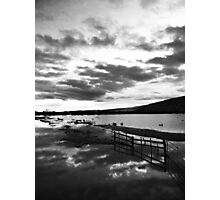 Sunset over a water meadow. Photographic Print