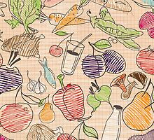 Hand drawn Food seamless pattern. by LourdelKaLou