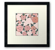 Seamless roses pattern. Vintage roses. Framed Print