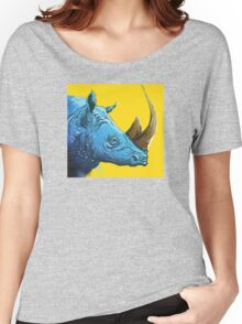 Blue Rhino on Yellow Background Women's Relaxed Fit T-Shirt