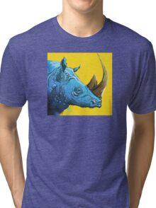 Blue Rhino on Yellow Background Tri-blend T-Shirt