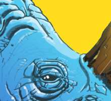 Blue Rhino on Yellow Background Sticker