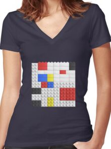 Mondrian Toy Bricks Women's Fitted V-Neck T-Shirt