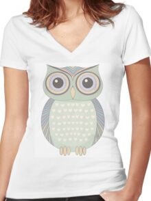 One Cool Owl Women's Fitted V-Neck T-Shirt