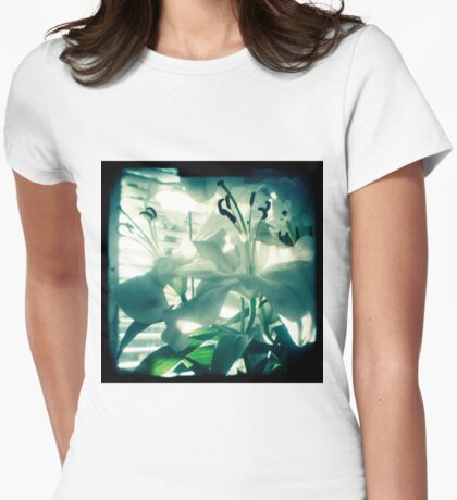 White lilies photograph Womens Fitted T-Shirt