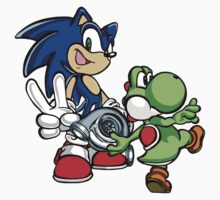 Boosted Sonic and Yoshi by TswizzleEG