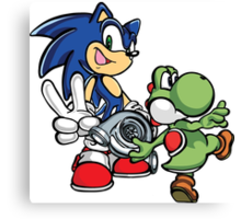 Boosted Sonic and Yoshi Canvas Print