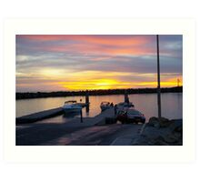 Boat ramp at sunset Art Print