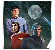 Three Spock Moon Poster