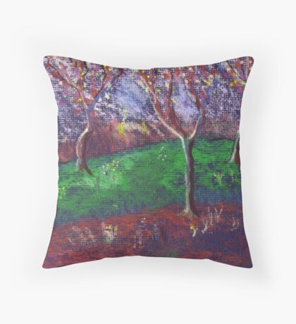Orchard in blossom Throw Pillow