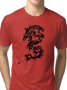 Black Only Chinese Tribal Dragon Tri-blend T-Shirt