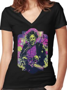 Leatherface  Women's Fitted V-Neck T-Shirt