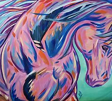 """Colorful Horse Painting """"Prancing Sky"""" by JohnPaulSneed"""