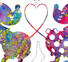 Mickey Minnie Mouse Love Dance Watercolor Sticker