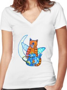 kittykat Women's Fitted V-Neck T-Shirt