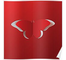 Red paper butterfly Poster
