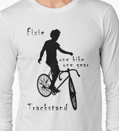 Fixie - one bike one gear - Trackstand (white) Long Sleeve T-Shirt