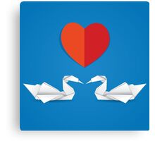 Swans and red heart Canvas Print