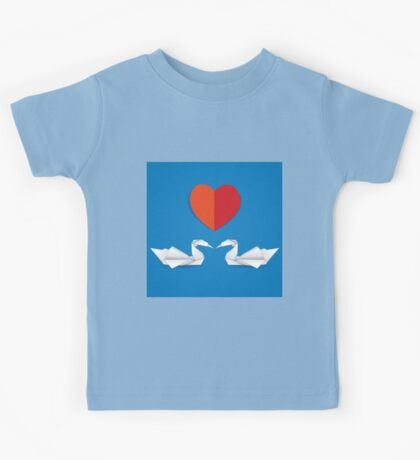 Swans and red heart Kids Tee