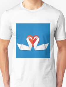Swans and red heart 2 Unisex T-Shirt