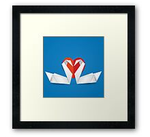 Swans and red heart 2 Framed Print