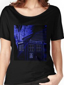Neon Blue T.A.R.D.I.S. Women's Relaxed Fit T-Shirt