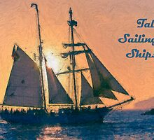 Impasto stylized photo of the Tall Ship Exy Johnson off Dana Point, CA US. by NaturaLight