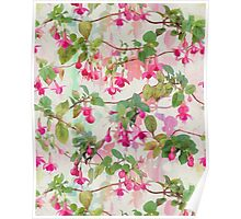Rainbow Fuchsia Floral Pattern Poster