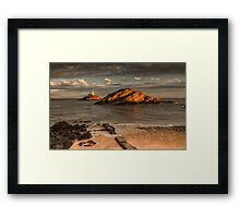 Sunset on Mumbles lighthouse Swansea Framed Print