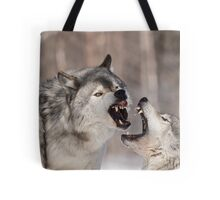 Timber wolves in winter Tote Bag