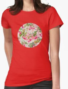 Rainbow Fuchsia Floral Pattern Womens Fitted T-Shirt